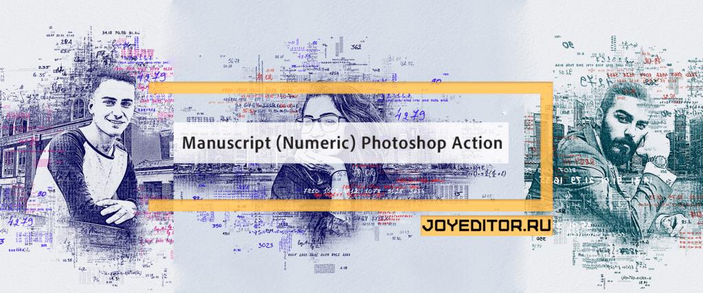 Manuscript (Numeric) Photoshop Action